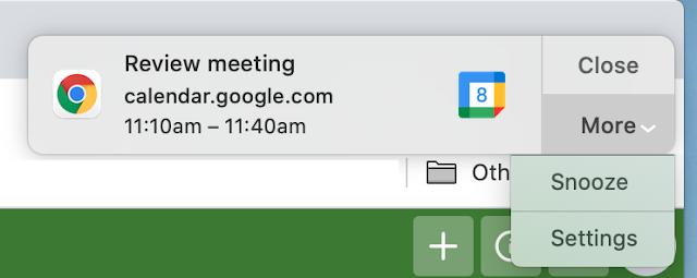 Snooze Google Calendar desktop notifications 1