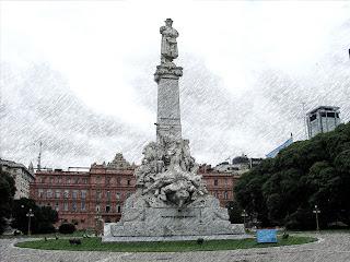 Monumento a Cristóvão Colombo e Casa Rosada, em Buenos Aires