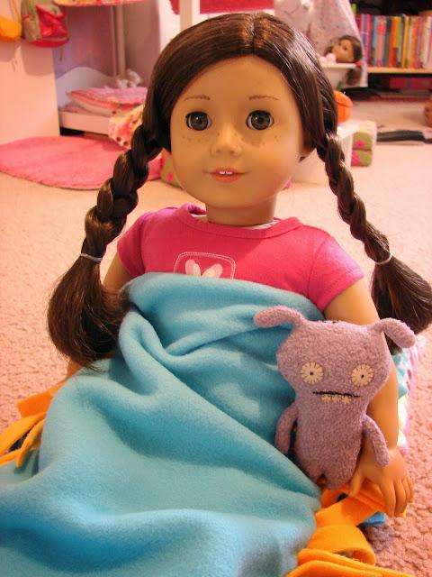 american girl doll play making tied fleece doll sleep sacks. Black Bedroom Furniture Sets. Home Design Ideas
