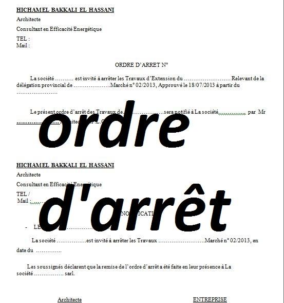 Préférence Exemple d'ordre d'arrêt et ordre de reprise travaux en word doc  RG44