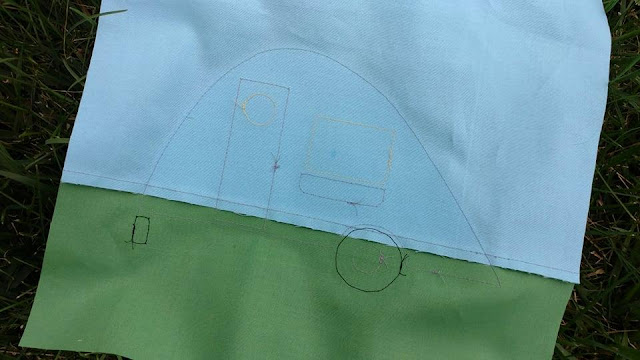 Back of teardrop camper quilt block