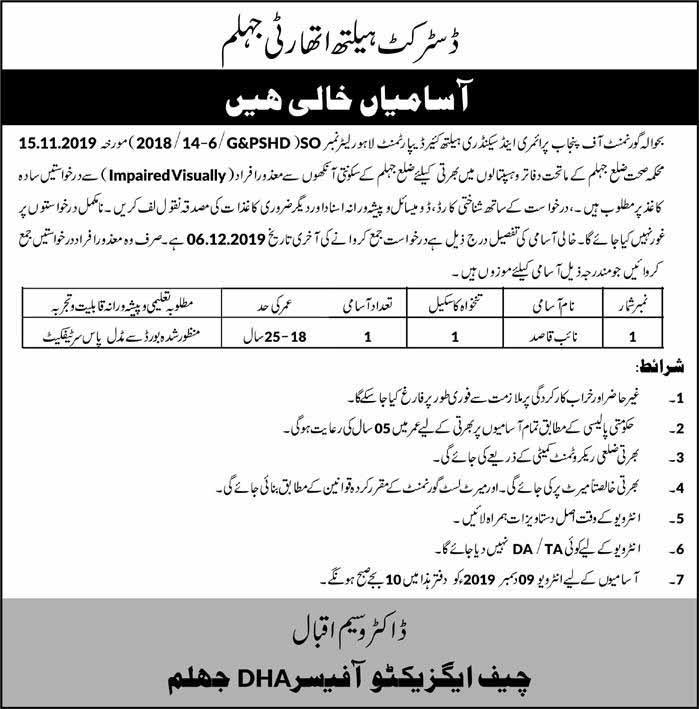 District Health Authority Jhelum Jobs 29 Nov 2019