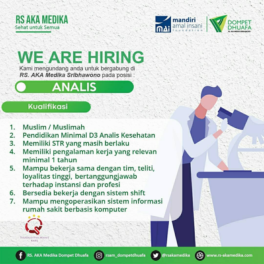 loker analis RS AKA Medika Lampung