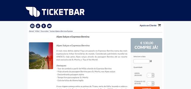 Ticketbar para ingressos para a visita aos Alpes Suiços em Milão