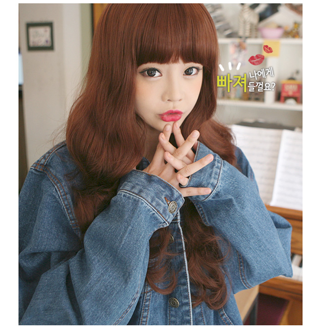 Korean Fashion Beauty Wig - Sweet Spoon Color Red Brown Model 3