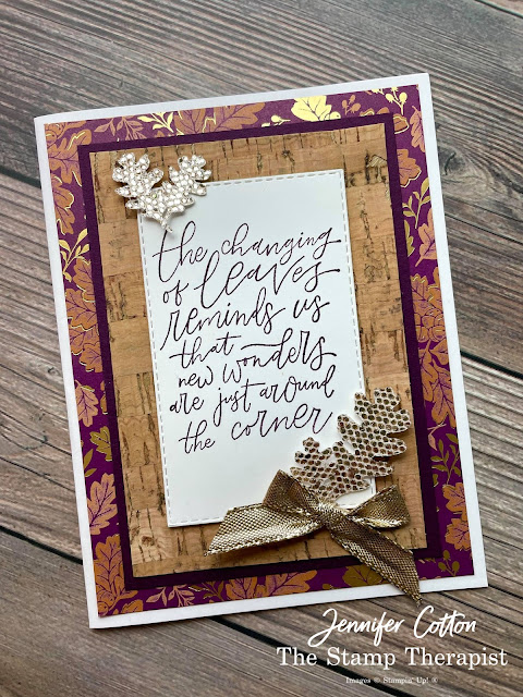 Stampin' Up!'s Beauty of Tomorrow bundle; Cork Specialty Paper; Blackberry Beauty 12x12 Specialty DSP; Be Dazzling Sale a Bration August-September 2021; Gold Shimmer Ribbon; Rectangle Stitched Dies; Brushed Metallic Adhesive Backed Dots.  #StampinUp #StampTherapist