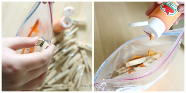 painting clothespins in zip top baggies