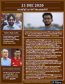 Daily Malayalam Current Affairs 21 Dec 2020