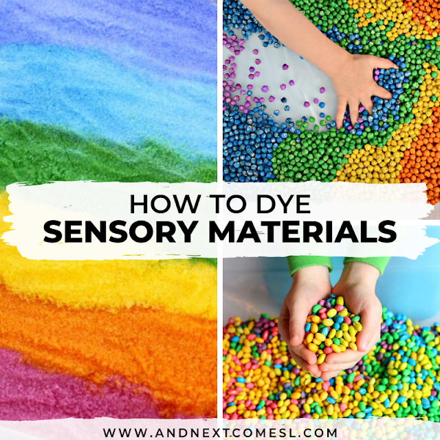 Rainbow sensory bin ideas for toddlers and preschoolers