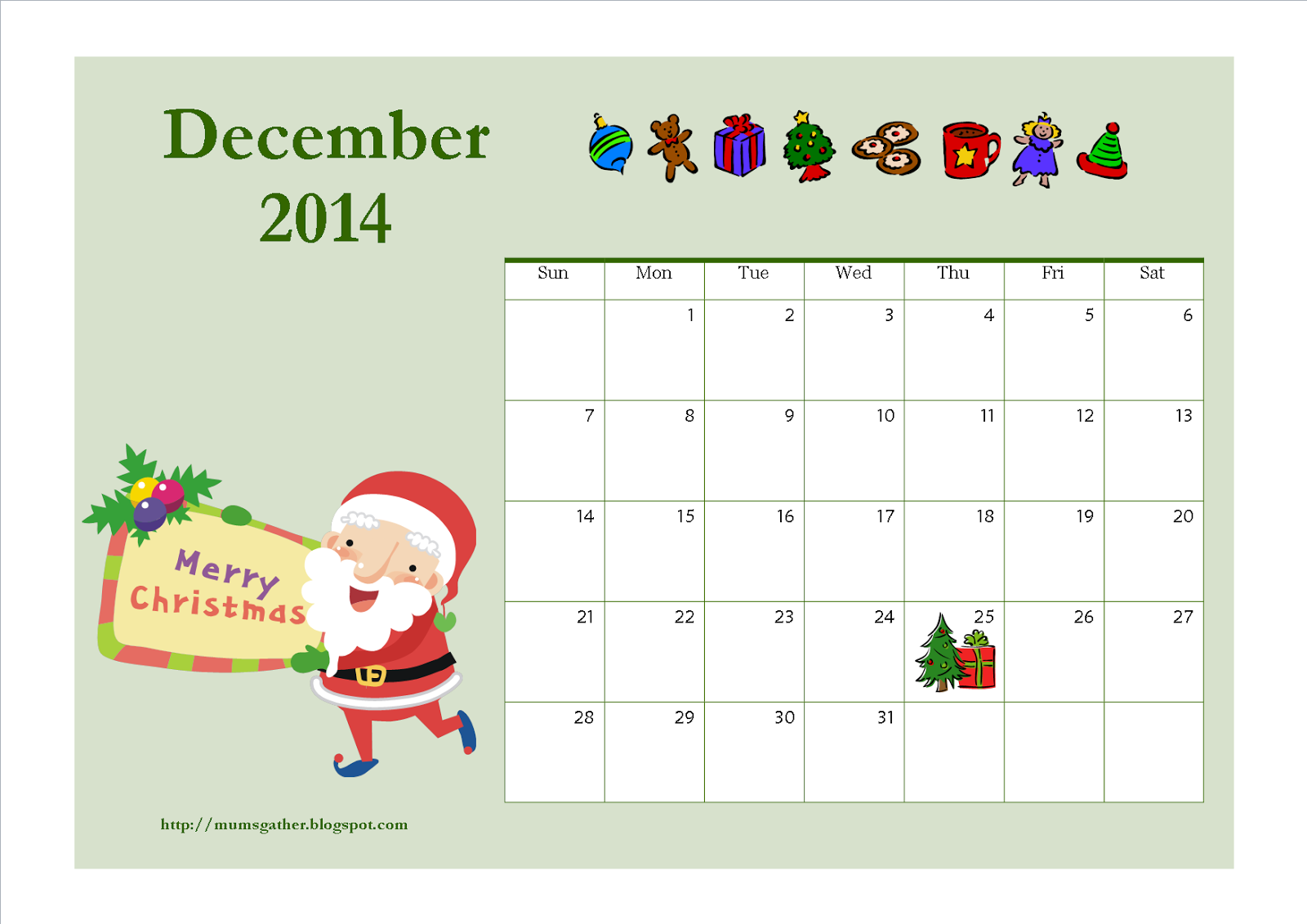 Christmas Calendar Pictures : Free printable december calendar for kids santa