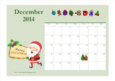 December 2014 Calendar (Santa)