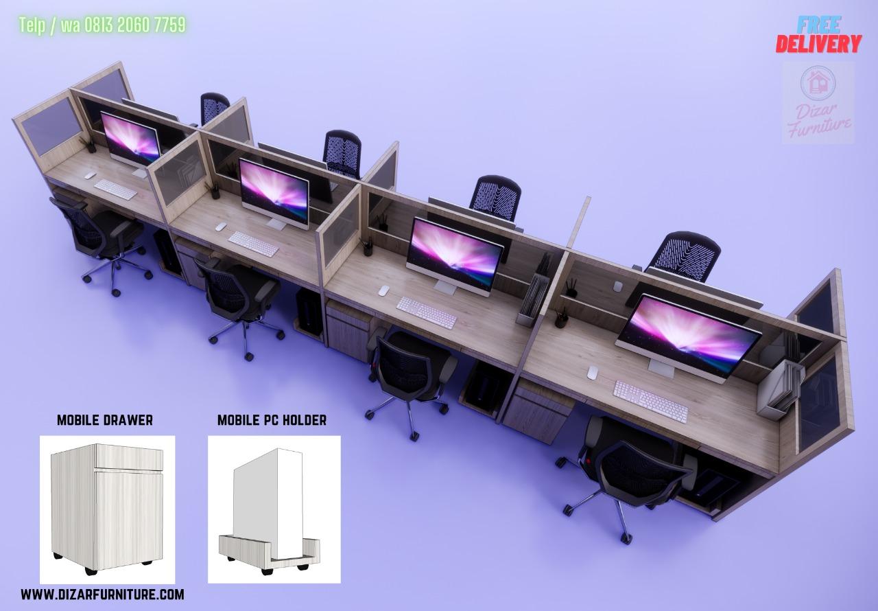 Meja partisi kantor 8 orang