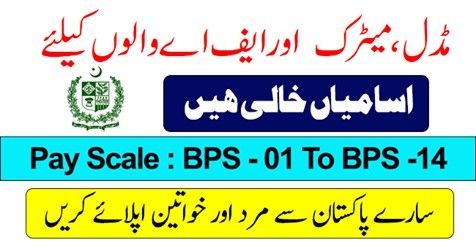 Amazing Jobs Announcement For All Pakistan Males & Females For (BPS-01 To BPS-14)