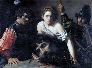 David with the Head of Goliath and Two Soldiers circa 1620-1622 by baroque painter Valentin de Boulogne (Le Valentine)