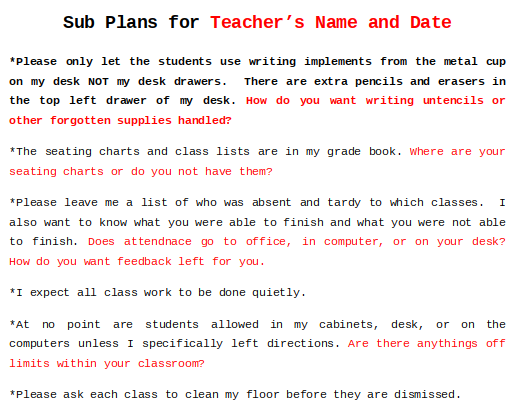 Sub Planning Form