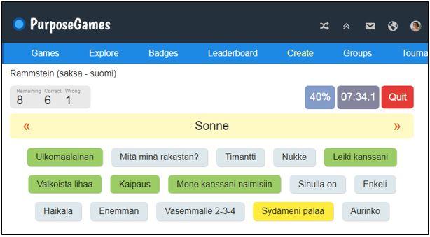 Keskellä lukee SONNE ja sen alta täytyy 15 suomenkielisestä sanasta etsiä sanan suomenkielinen vastine, joka on aurinko