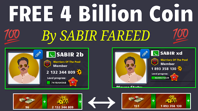 8 Ball Pool FREE 4 Billion Coins Account Giveaway ? By SABIR FAREED