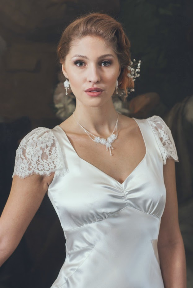 Heavenly Vintage Wedding Dresses VIOLETTE and Judith Brown jewellery