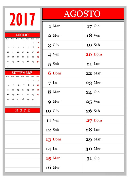 Calendario mensile - agosto 2017