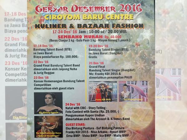 Gebyar Festival Desember 2016 di Ciroyom Baru Center Bandung
