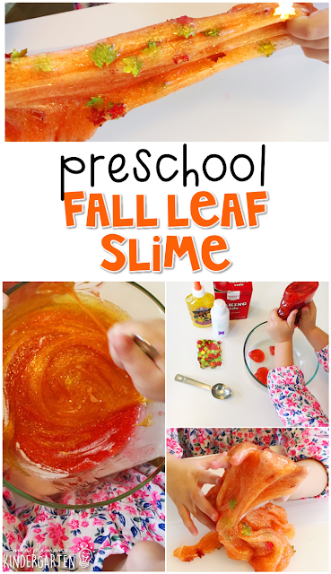 All kids LOVE slime! This fall slime was a fun way to incorporate measurement, fine motor skills, and science learning into our fall theme. Great for tot school, preschool, or even kindergarten!