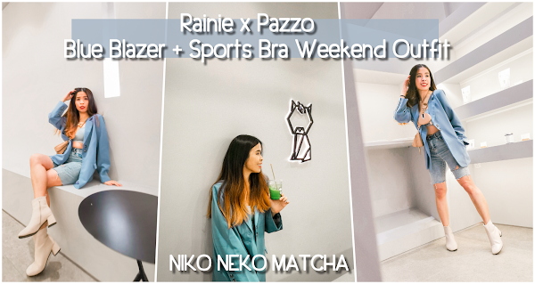 Rainie x Pazzo | Blue Blazer + Sports Bra Weekend Outfit @ NIKO NEKO MATCHA 2.0