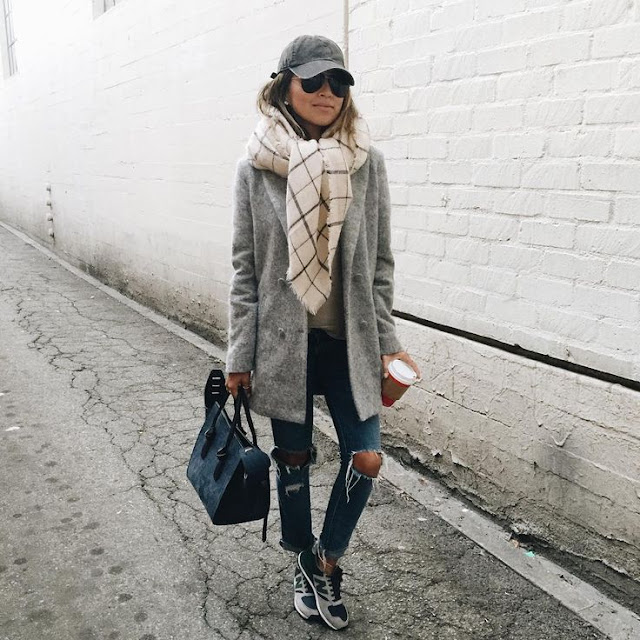 Sincerely Jules - Grey Coat + Hat, Celine Bag