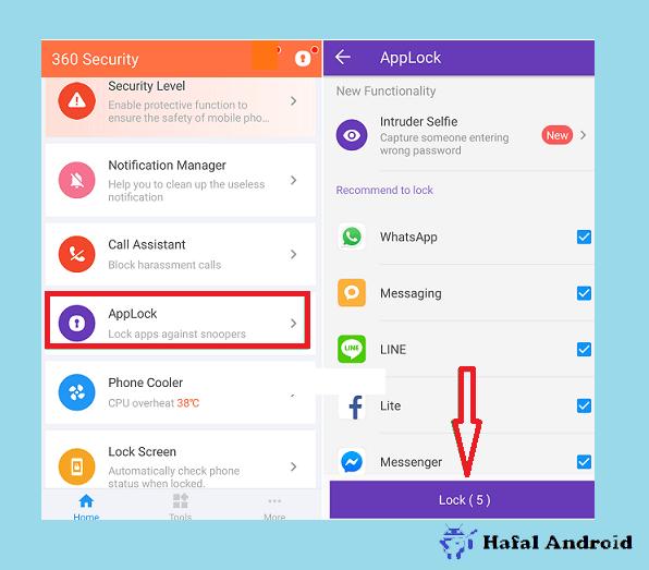 Pilih Aplikasi Yang Ingin Dikunci dengan 360 Security