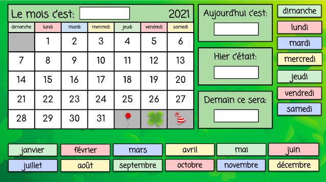 Interactive French Calendar - mars 2021