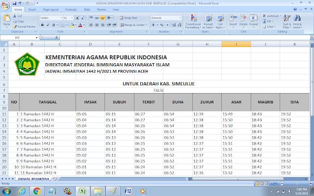 Jadwal Imsakiyah Ramadhan 1442 H Kabupaten Simeulue, Provinsi Aceh