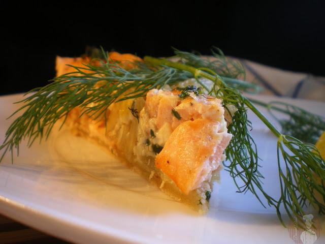 Pastel de salmón con espinacas y setas: Sugerencia de presentación