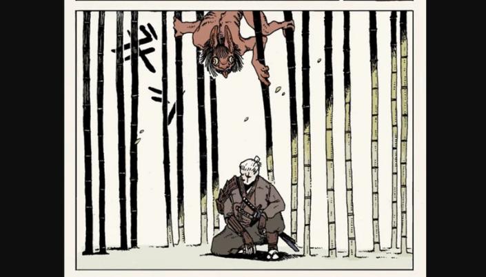 Imagem: um quadrinho de The Witcher: Ronin, em que se vê o personagem Geralt, sentado em uma plantação de bambus, em um traje marrom com duas espadas katanas e acima uma criatura avermelhada com enormes olhos tentando descer sorrateiramente.