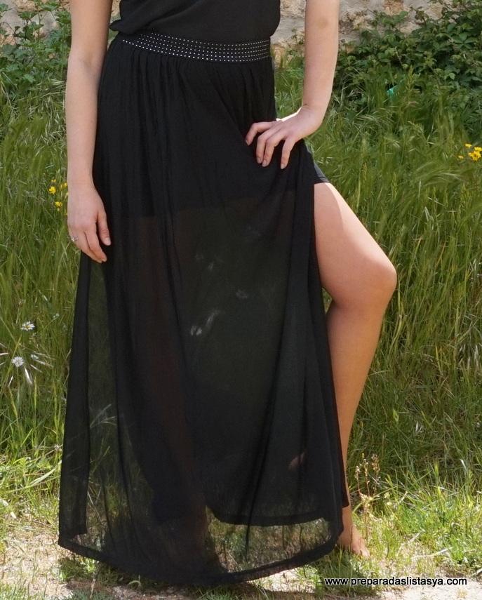 Falda larga aberturas laterales