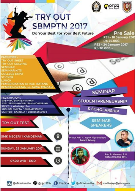 Event Batang | 29 Januari 2017 | Try Out Akbar SBMPTN 2017 Se-Jawa Tengah