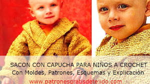 Abrigado sacón para bebé de 9 a 12 meses tejido a crochet con explicación paso a paso