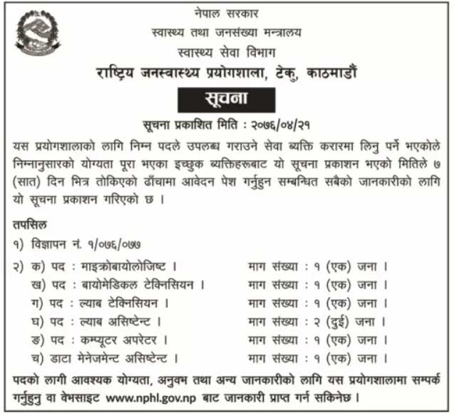 Vacancy from Ministry of Health, Government of Nepal