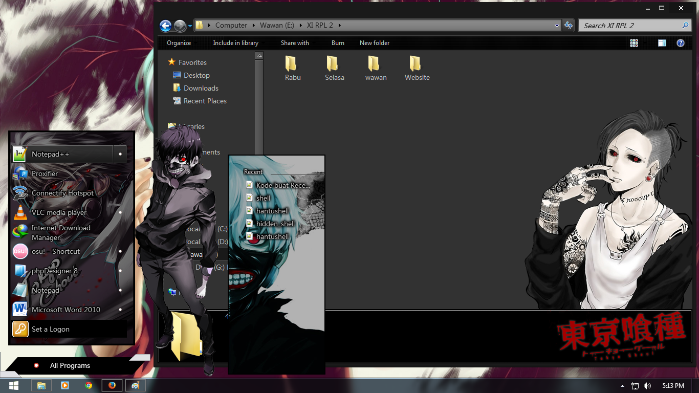 But there's a workaround to change the desktop background on an unactivated copy of windows 10. Windows 7 Theme Tokyo Ghoul   Shiroskin Project