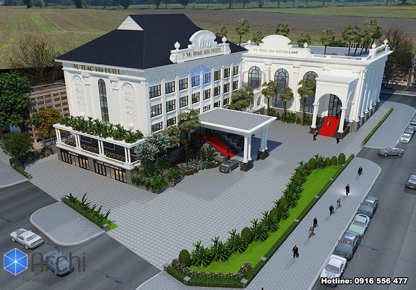 Hình ảnh: Phối cảnh mặt tiền thiết kế khách sạn 4 sao Vu Thao 555 Hotel