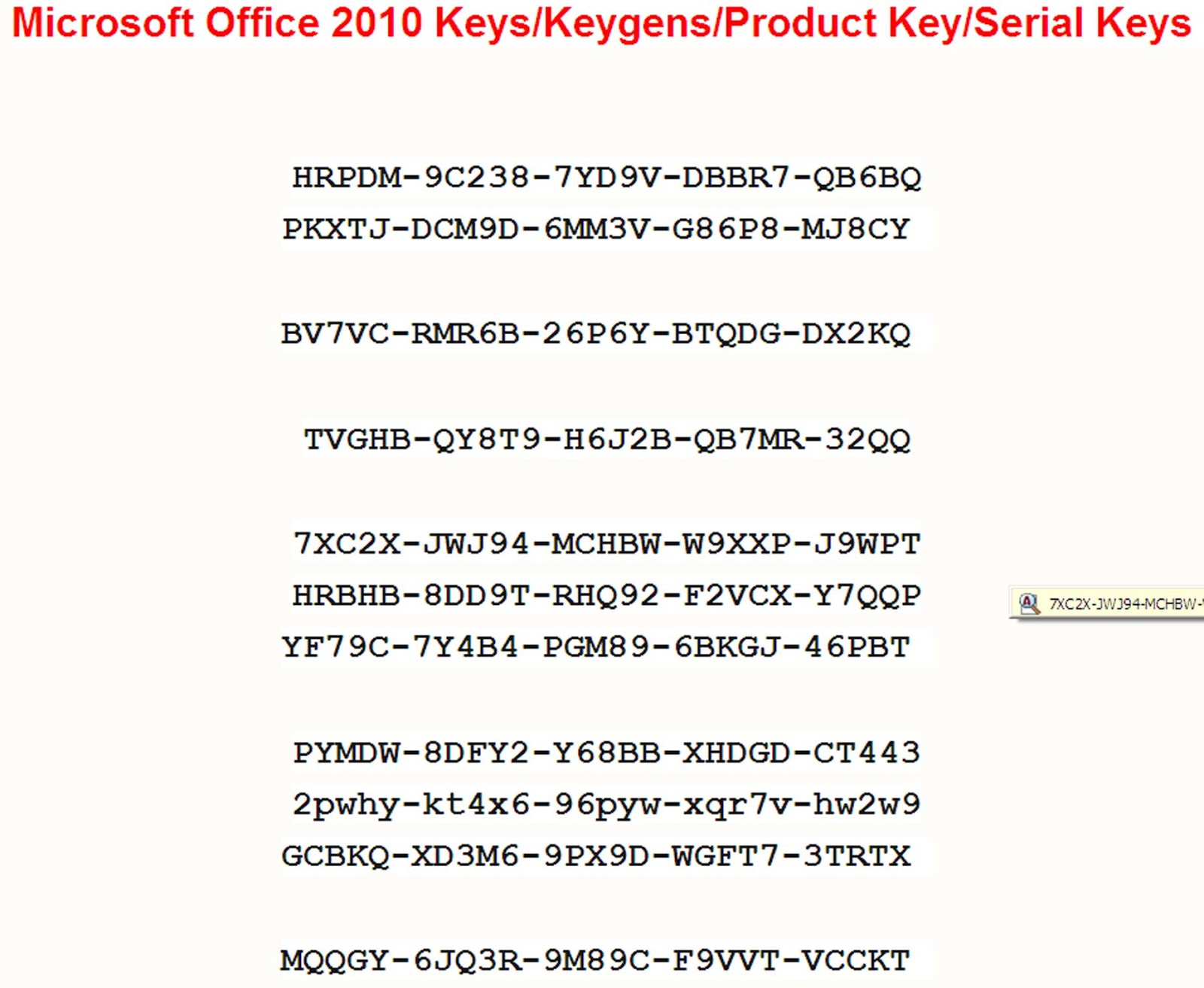 Office Product: Free Office Product Key 2010