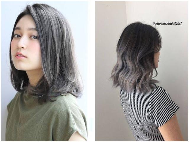 warna gaya rambut ombre pendek kehitaman ala korea