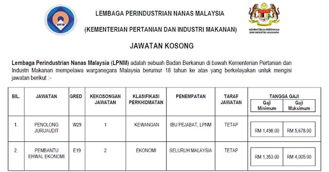 lembaga perindustrian nanas malaysia jawatan kosong