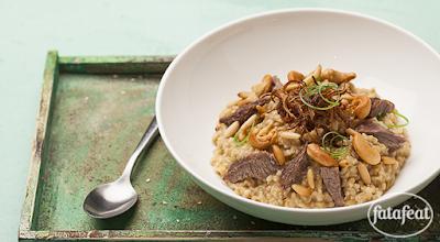أرزية الفريكة مع لحم خد العجل المدمس