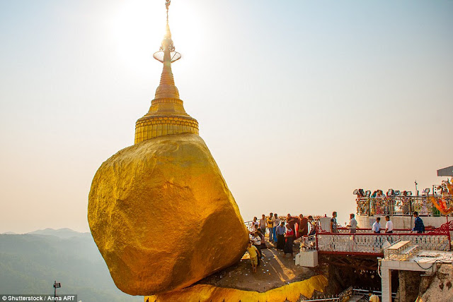 Built on top of a granite rock in Mon State in Myanmar, the Chaittiyo Pagoda is a popular pilgrimage site.