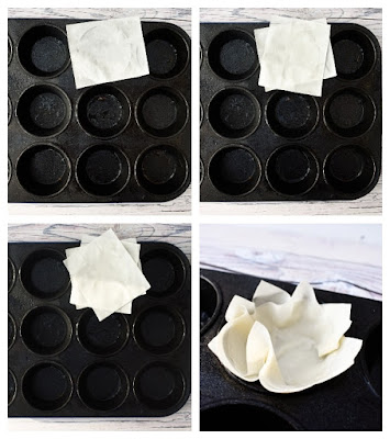 layered filo pastry cases in muffin tin