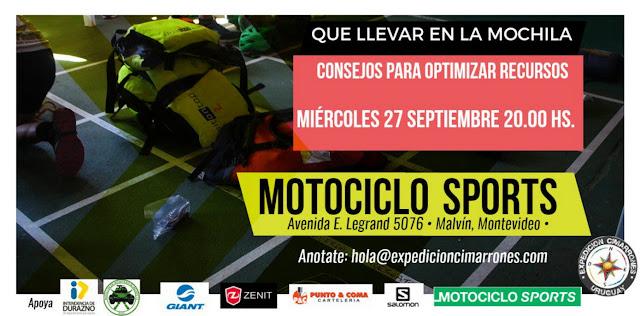 Charla ¿Qué llevar en la mochila? (Motociclo Sports, 27/sep/2017)