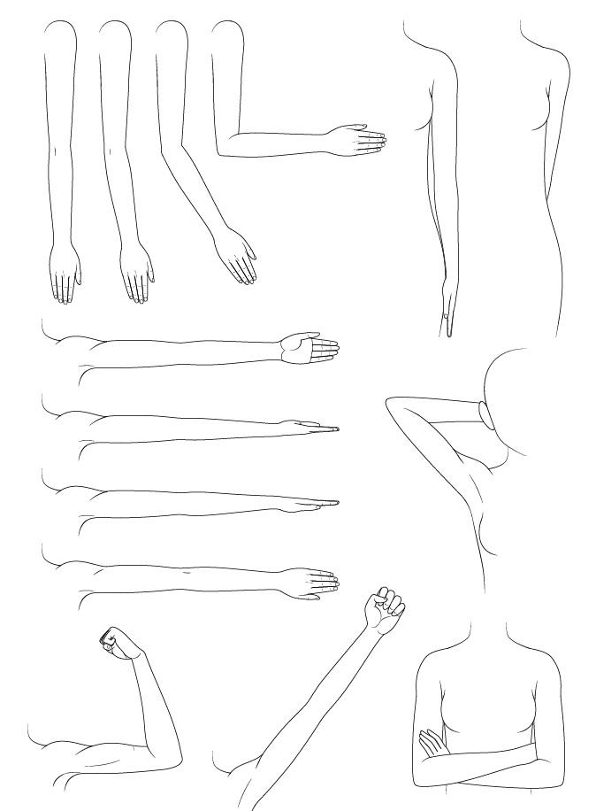 Contoh menggambar lengan anime