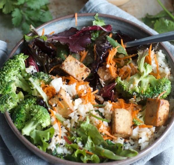Coconut Cauliflower Rice Buddha Bowls #vegan #dinner