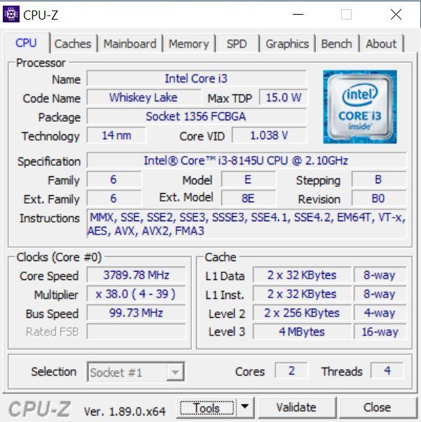 CPU-Z Asus Vivobook Ultra A412FA EK303T