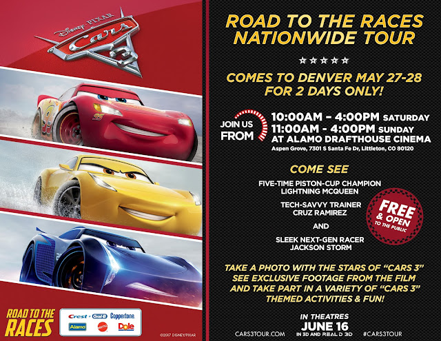 Cars 3, Road to the races nationwide tour, Cars 3 tour, Cars 3 in Denver, Cars 3 tour colorado, Cars 3 colorado tour