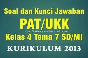 Download Soal dan Kunci Jawaban PAT/UKK Kelas 4 Tema 7 SD/MI Kurikulum 2013
